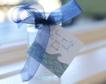 Printable Waves Theme Shower Favor Tags - I love you to the sea and back, instant download LOVELY LITTLE PARTY