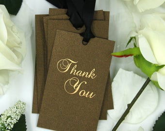 Set of 20,  Thank You Tags, Golden Print, Favor Gift Tag, Ribbon Color Options