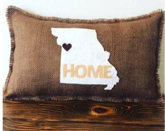 "Missouri Home Pillow-11"" x 18"" Natural Burlap Pillow-Create Your Own Color Combo-24 Colors Available-Rustic/Shabby Chic-State"
