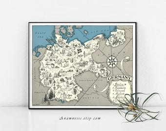 GERMAY MAP PRINT - Instant Download Image  - printable map of Germany for framing, jewelry, totes, clothes, tags, pillows, nursery, weddings