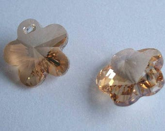 4 SWAROVSKI 6744 Flower 14mm crystal pendant GOLDEN SHADOW
