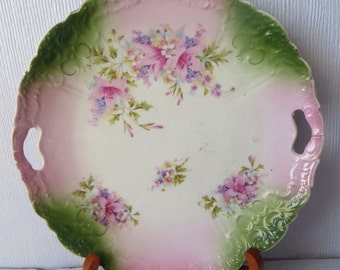 """Antique vintage china plate dish 1930's floral pastel 9"""" pink green"""