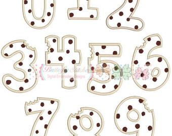Cookie Number Set 0-9 Machine Embroidery Appliqué Design
