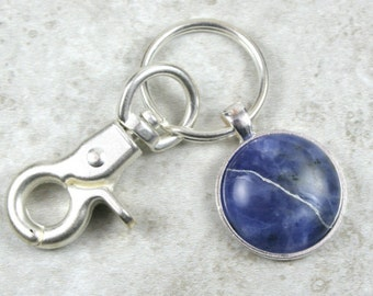 Kintsugi (kintsukuroi) sodalite stone keychain with silver repair in a silver bezel setting and swivel lobster claw - OOAK