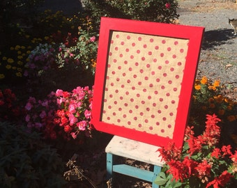 "22""x26"" Beautiful Christmas red frame pin board."
