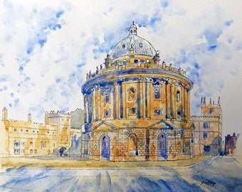 Radcliffe Camera Oxford - print from an original pen and wash painting by John Menage size A4