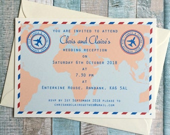 Travel themed wedding invitation - postcard style - Travel Ticket design