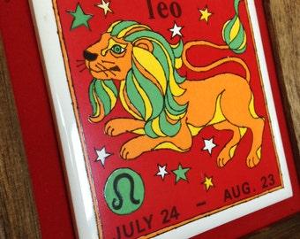 Vintage 1970's Zodiac Leo the Lion Framed Tile Wall Art
