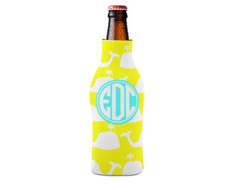 Personalized Bottle Insulator, Monogram Whale - DIY Custom Bottle Insulated Beverage Container
