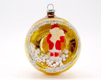 Vintage Mercury Glass Santa Diorama Christmas Ornament 1950s Christmas Decoration Bauble Japan Gold
