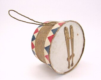 Vintage Cardboard And Dresden Drum Candy Container Christmas Ornament Patriotic Christmas Decoration