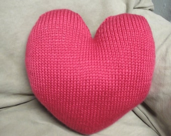 "Valentines Day Pink Heart Pillow, Hand Knitted Heart Shaped Pillow, Cute Home Decor 14"" Throw Pillow"