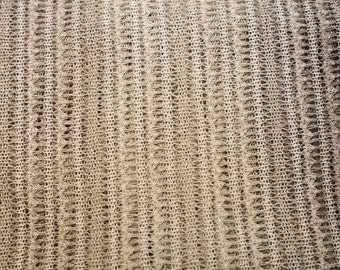 1 Yard - Beige Brown Gradient Lace Open Knit Fabric