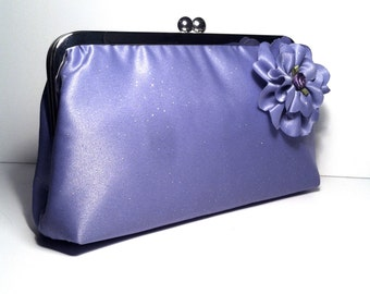 Lavender Light Purple Lilac Glitter Clutch with Flower Accent 8x4x2.5