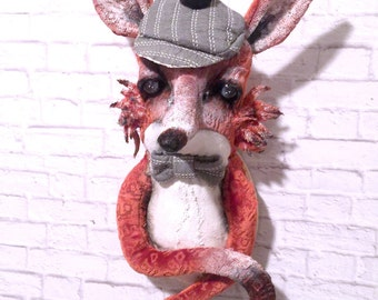 Rolf Fox  Faux Taxidermy|stuffed animal head |wall mounted faux animal head |woodland fox