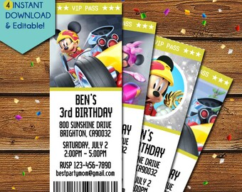 Mickey and the Roadster Racers Invitations, Mickey Mouse Roadster Racers Invitations, Mickey Roadster Racer Birthday, Mickey Mouse Invites
