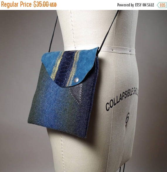 SUMMER SALE Ombre Cashmere Small Bag - Cashmere and Leather Mini purse - Mini Leather Bag - Women's Accessories