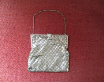 Silver Mesh Evening Bag 1930's to 1940's Art Deco