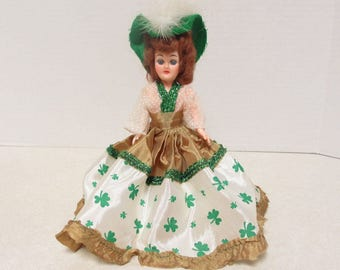1940s St. Patrick's Colleen Doll with Clover Leaf Gown RARE