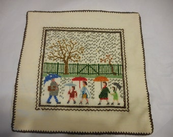 Supply, Cross Stitch, Pillow Top, Wall Decor, Rainy Day, Umbrellas, People, Trees, Cottage