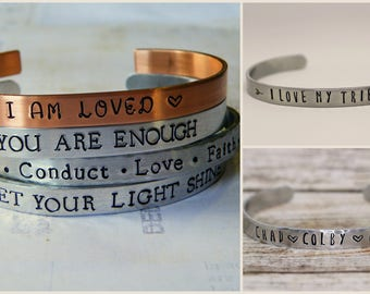 Design Your Own Hand Stamped Aluminum Cuff Bracelet, custom bracelet, personalized, children's names, gift