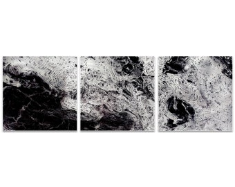 Black Metal Art 'Storm Black Triptych Large' by Emley - Abstract Artwork Expressionist Wall Art on Metal or Acrylic