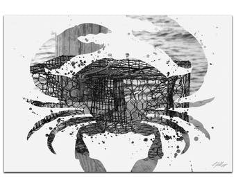 Animal Silhouette 'Crab Pot Gray' by Adam Schwoeppe - Landscape Photography Coastal Nature Art on White Metal