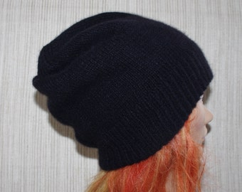 Pure 8 Ply Cashmere Black Thick Hand Knitted Beanie Hat for Men or Women