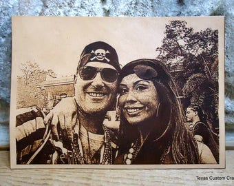 Leather Engraved Wedding Photo, Leather Engraved Photo, Laser Engraved Wedding Photo on Leather, Leather 3rd Year Anniversary Photo