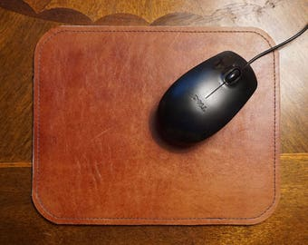 Reddish Orange Tanned and Black Reversible Leather Mouse Pad