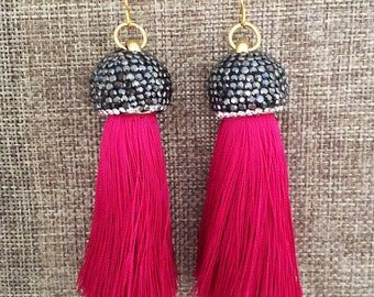 Bridesmaid Earrings Wedding Earrings BRILLIANT ROSE PINK Tassel Earrings Tassel Earrings Bridesmaid Gift Silk Jewelry Pink Earrings