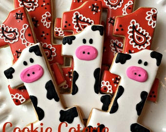Cow Print and Bandanna Number One Cookies First Birthday Farm Party Favors One Dozen