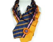 RESERVATION,Necktie,Artistic, Tie,Orange, Blue, Pink, Retro,Vintage,Recycled,Free Shipping