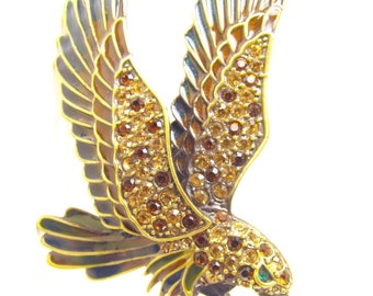 Flying Eagle Brooch Rhinestone Studded Enameled Gold Tone Large Sized Vintage Beauty