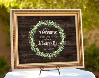 Wedding Sign - Wedding Decor - Wedding Welcome - Printable Wedding Sign - Rustic Wedding - Floral Wedding  - Reception - Happily Ever After