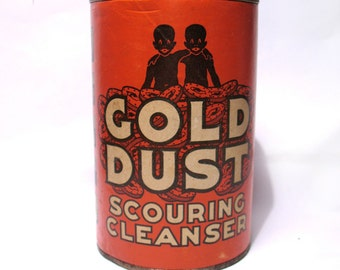 Vintage Gold Dust Twins Tin Scouring Cleanser - Black Memorabilia Advertising Tin Ephemera - Collectable Tin Unopened - Advertising Display
