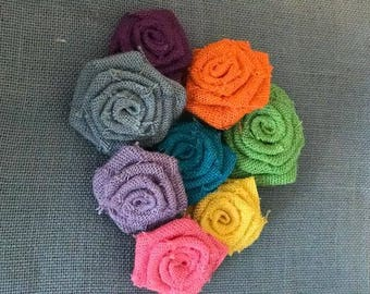 Burlap Roses -Group of 10 - SPRING COLORS party decoration cake topper DIY headband baby photoprop rustic wedding