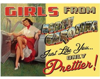 North Carolina Pin Up Girl Print Girls from North Carolina
