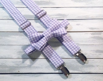 boys lavender suspenders and bow tie set- boys gingham suspenders - purple bowtie and suspenders -  - wedding - ring bearer -photo prop