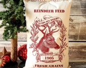 Reindeer Feed Sack, Christmas Pillow Cover, Vintage Reproduction,  16x26 Choice of Burlap, Linen or Cream Cotton