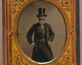Stock Broker Banker Industrialist Ruby Ambrotype sixth plate antique photo