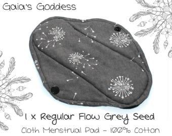 1x Reusable Cloth Menstrual Pad (Regular Flow - Grey Seed) Cotton Sanitary Pad