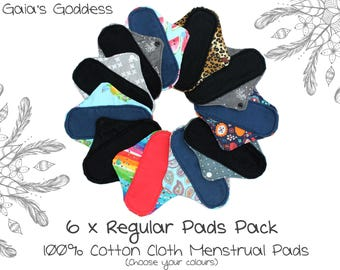 6x Regular Cloth Menstrual Pads Set (You Pick Colours) Reusable Cotton Sanitary Pads