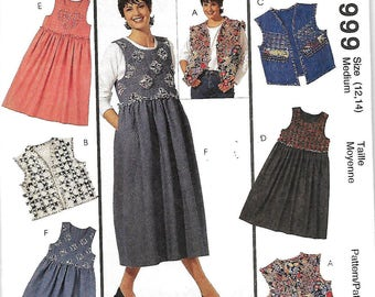 McCall's 6999 Creative Clothing Misses Jumper And Vest Pattern, Size 12-14, UNCUT