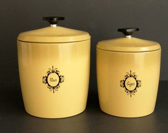 Vintage Canister Set by West Bend Aluminum Harvest Gold Flour Sugar Two 2 Piece Set