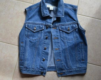80s 90s Vintage Denim Vest Jean Jacket vest Medium Large Blue Denim Jumper Vest