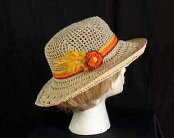 Fedora sun hat Women crochet wide brimmed hat Beige tan lace hat Summer beach bucket hat Cotton chemo hat Cancer headwear Ribbon boho hat