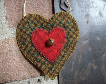 Rustic Country Heart Valentine Ornament