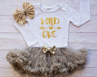 Gold Gray Birthday Outfit / One Piece Bodysuit skirt..First Birthday Bodysuit / Gold Bodysuit - Birthday Bodysuit - Cake Smash Outfit