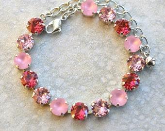 Pink Bracelet, Shades of Pink, Swarovski, 8.4mm, Rhodium Silver, Tennis Bracelet, Adjustable Bracelet, Crystal Bracelet, Rhinestone